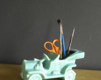 Going Places - Vintage Mint Green or Aqua Model T Car Planter - Pottery Vintage Car