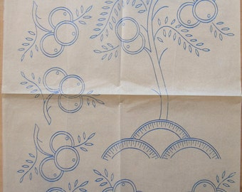 Large 1930's Deco Pattern Iron-on Transfer - 30's Embroidery Transfer Pattern - Art Deco Embroidery Pattern - Old Transfer For Embroidery