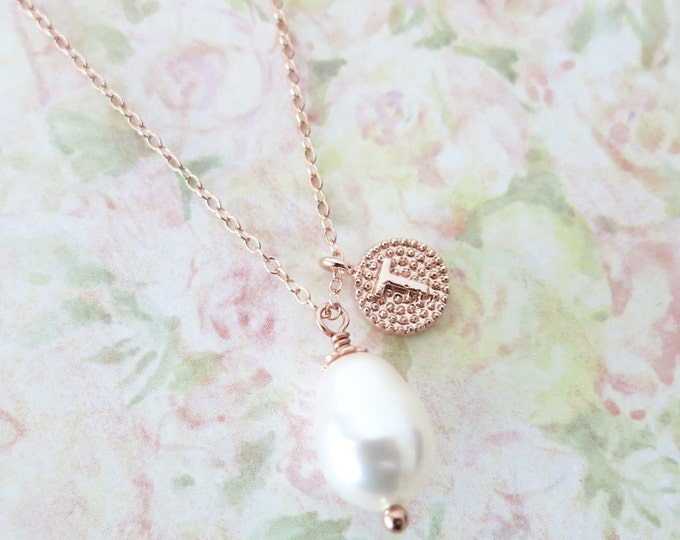 Pearl - Simple Personalized Teardrop Pearl Necklace, Swarovski,  Bridal, Bridesmaids, jewelry, fairy tale, wedding,