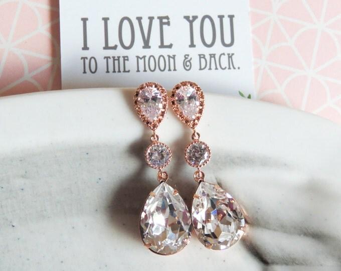 Paulette - Rose Gold Teardrop Crystal Earrings, Bridesmaid Earrings, Bridal Jewelry, Wedding Jewelry, Swarovski Crystal Drops