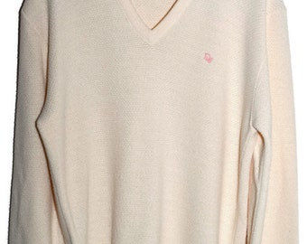 Vintage CHRISTIAN DIOR V Neck Sweater Cream Soft Orlon Mens L XL Boyfriend Fit
