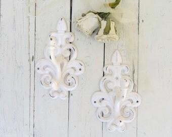 Shabby Cottage Hooks, Large Ornate Hooks, Vintage Inspired, Fancy Hooks, Towel Coat Hook, White Hooks, French Cottage, Paris Apartment