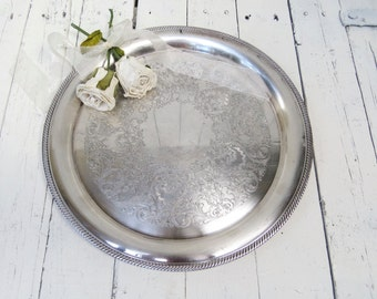 Vintage Silverplate  Platter, Large Ornate Tray, Holloware, Dining Decor, Serving Piece, Silver Tray, International Silver Co., Castleton