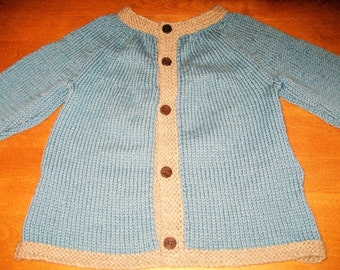 Child Cardigan Sweater, Child Wool Cardigan, Sweater Size 4, Girl Sweater Size 5, Mulit Color Sweater, Boy Cardigan Size 4, Two Color