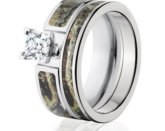 Cobalt Camo Bridal Set with Mossy Oak Breakup Infinity Camo Wedding Rings Camo Bands : COB-6F14G1PCTW and 4HR_BUI