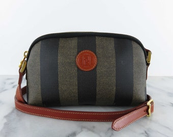 Vintage FENDI Bag Striped Mini Purse Shoulder Bag Small Monogram Vinyl Pvc Leather FF