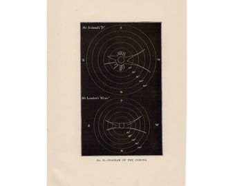 1893 SOLAR CORONA corona diagram original antique celestial astronomy print - total solar eclipse