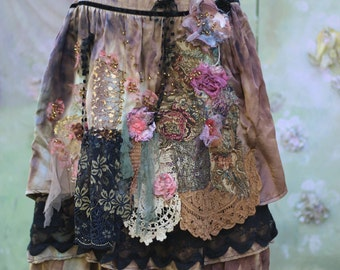 Barocco  skirt  II- -bohemian, romantic, altered couture, shabby chic, heavy sateen, hand dyed, embroidered details,