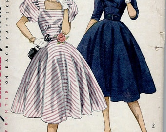 1950's Simplicity No. 3826 Sewing Pattern Party Dress with Square Neckline and Fitted Midriff , Circular Skirt  Bust 30