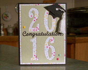 2017 Graduation Congratulations Card - Choose Your Year - Large Numbers Cut Out over Confetti Paper - Handmade Cap with White Tassel
