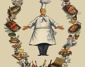 vintage mid century illustration chef with food illustration menu digital download