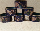 Vintage 1970's Blue Cloisonne' and Brass Napkin Rings, Set of 6
