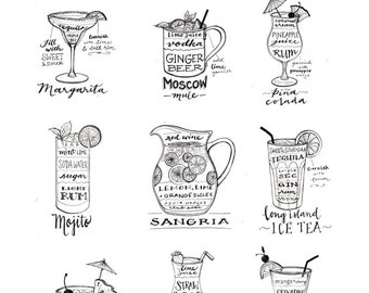 Tropical Drinks, Summer Cocktails Guide, Calligraphy, Moscow Mule, Margarita, Long Island Ice Tea, Sangria, Illustration Art Print, Poster