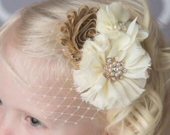 Ivory gold hair clip, bridal veil, birdcage veil, wedding hair accessory, flower girl hair clip, cream flower clip, bridesmaid hair clip