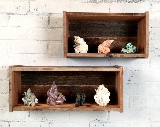 Reclaimed Cedar Storage Box Shelf - Rustic Home Decor - Handmade Wooden Box Organizer Shelves