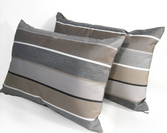 "SALE - Two Decorative Pillow Covers, 12""x18"" Pair of Modern Outdoor Brown Gray Striped Throw Pillow Cases, Masculine Grey Sunbrella"