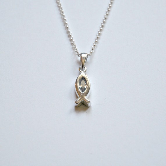 Christian fish necklace sterling silver ichthys by for Jesus fish necklace