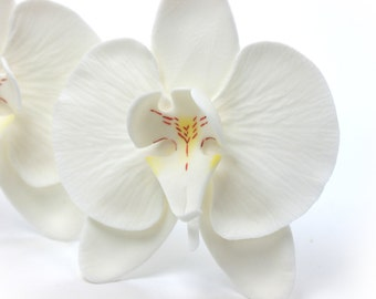 White Moth Orchids Phalaenopsis Sugar Paste Wedding Cake Topper by lil sculpture- Set of 3