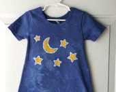 Girls Star Dress, Girls Moon Dress, Blue Girls Dress, Batik Star Dress, Batik Girls Dress, Batik Toddler Dress, Toddler Girls Dress (2T)