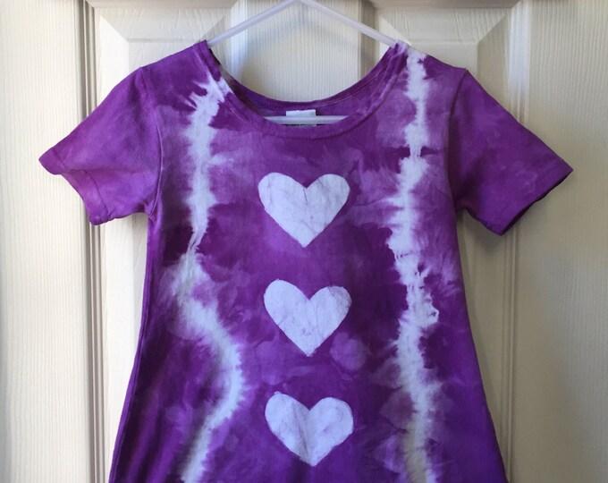 Purple Girls Dress, Purple Easter Dress, Girls Easter Dress, Purple Hearts Dress, Tie Dye Dress, Girls Tie Dye Dress (2T)