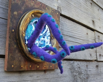 Purple Felt Tentacles in Porthole