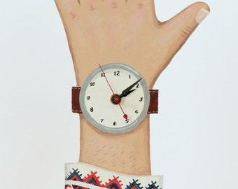 OOAK -- Dalmatian Hand painted wooden clock