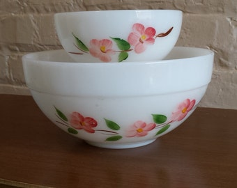 Set of 2 Vintage Fire King Hand Painted Pink Dogwood Flower Bowls