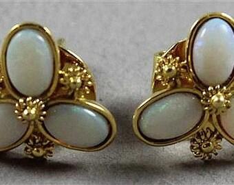 """Pair Unmarked Yellow Gold Triple Opal Stud Earrings, 1/2""""diameter, tests 10K, 3.3 grams total"""