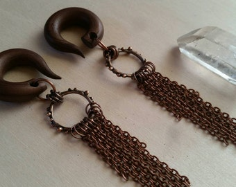 Liquid Copper Gauged Earring Plugs with Copper Chain Fringe