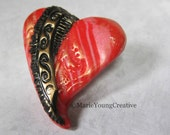 Swirls Heart Brooch. Red, Black and Gold Design. Romantic Gothic Valentines Day Gift.