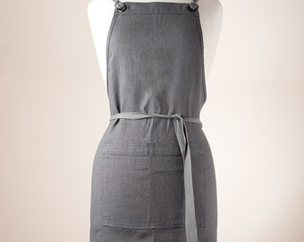Linen Apron, Full Apron. 100% medium weight Linen. GRAPHITE Softened.
