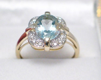 14k gold size 8 icy blue aquamarine aqua genuine diamond accent ring band ballerina solitaire cluster  style womens fine fashion jewelry