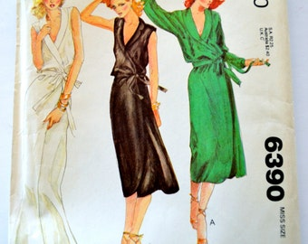 McCall's 6390 Sewing Pattern Misses Front Wrap Dress Shawl Collar Size 10-12 UNCUT