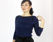 SALE - Sonya sweater knit top / Boat neck top 3/4 sleeve / Marine blue knit long sleeve top