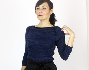 SALE - Sonya sweater knit top / Boat neck top 3/4 sleeve / Marine blue knit long sleeve top