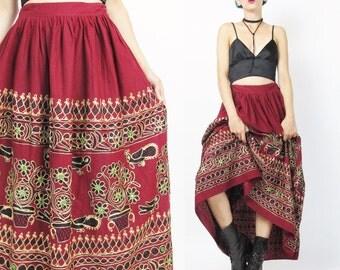 Indian Embroidered Maxi Skirt Indian Cotton Skirt Shisha Mirrored Skirt Red Cotton Gypsy Ethnic Bohemian Hippie Folk Drawstring Waist (M/L)