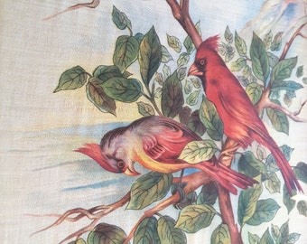 Victorian red cardinal bird linen fabric framed, chinoiserie fabric antique, chinoiserie art, vintage home decor, bird art, Victorian decor