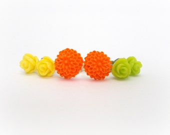 Tiny Flower Earrings, Yellow Roses, Orange Flowers, Lime Green Roses, Cute Earrings, Surgical Steel for Sensitive Ears, Tween Jewelry