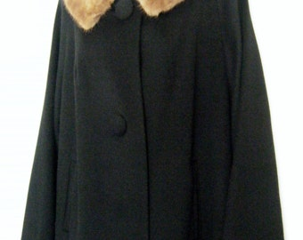 classic 1950's MINK fur Collared BLACK wool coat, size XL