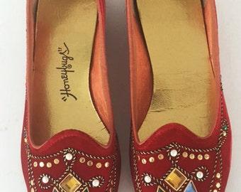 Vintage 60s Red Velvet Flats with Gemstones Honeybugs Size 7.5