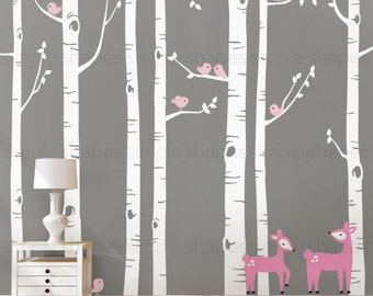 Birch Tree Wall Decal with Birds and Deer, Baby Nursery Wall Stickers, Nursery Wall Decals, Tree with Birds and Deer Stickers W1114