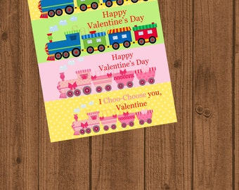 I Choo-Choose you, Valentine favor bag toppers/School treat bags/Train Ziplock Valentines/Boy Girl Valentine's