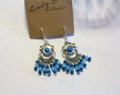 Turquoise Blue and Dark Blue   Chandelier Earrings     Free Shipping in USA