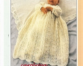 SALE***** Knitting Pattern -  Baby Christening Dress and Shawl - shetland Lace Heirloom Quality download