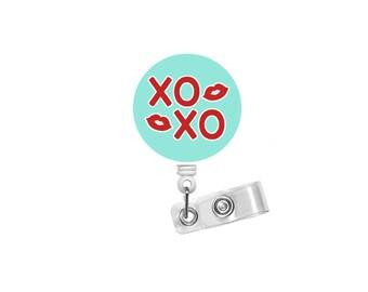 XOXO Badge Reel - Cute Badge Reel - Nurse Badge Holder - Nursing Badge Reel - Retractable Badge Reel - Teacher Badge - Valentines Day Badge