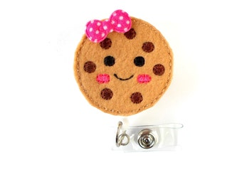 Colleen the Cookie - Retractable ID Badge Holder - Name Badge Holder - Cute Badge Reel - Nursing Badge - Fun Badge Holder - Felt Badge Reel