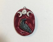 Raven corvid triple crescent sculptural ceramic pendant by JDaviesReazor