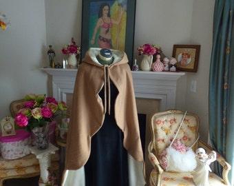 Victorian Scalloped-Hem Mother of Bride Cape 2-Tone Hooded Caramel & Ivory Fleece Reversible Tuxedo-Tailed Wedding Cloak Handmade In USA