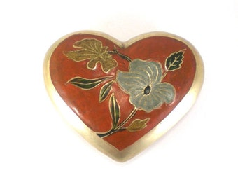 Brass Heart Paperweight Vintage Home Office Desk Decor Brick Red Color
