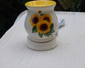 Bright Yellow Sunflower!  Electric Tart Warmer